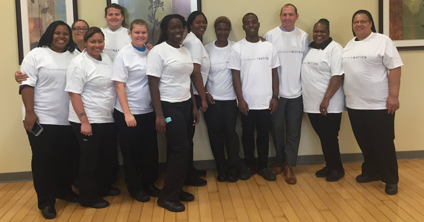 Baton Rouge General Nutritional Care Team members wear their 1 Nation Generation shirts with great pride.