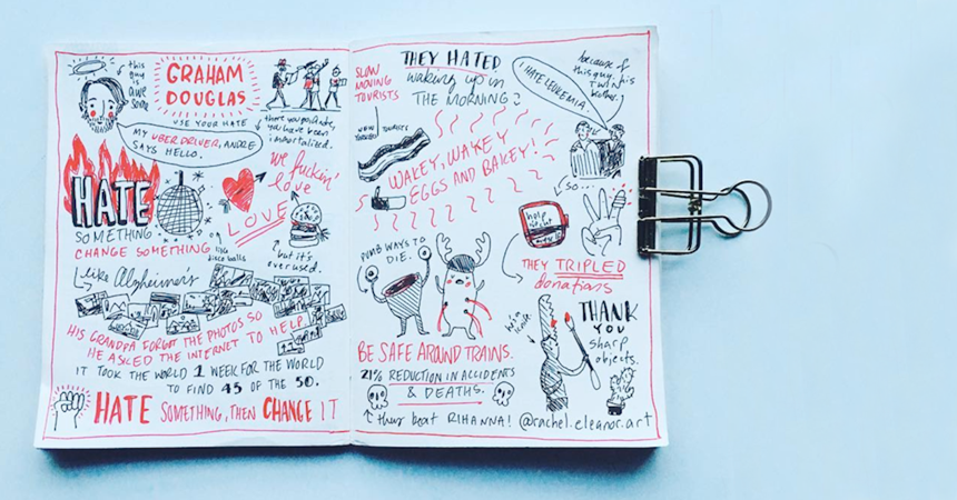 It's become a sort of tradition that graphic design student Rachel Eleanor Phillips draws some finely-crafted doodles for each Industry Hero guest speaker. She always manages to capture the essence of the presentation, and the speakers always end up asking for a copy.