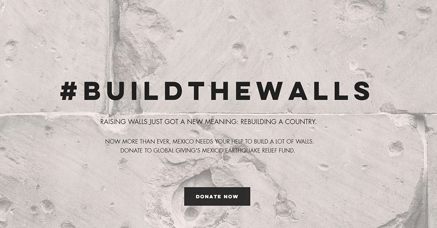 #BuildTheWalls home page.