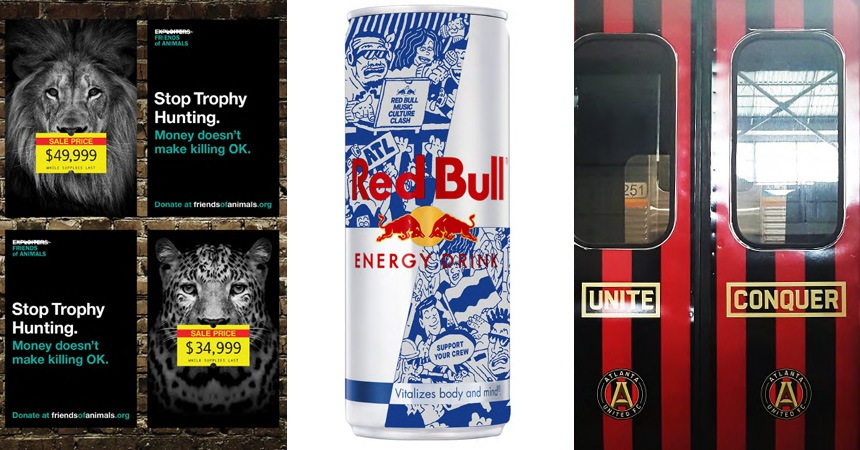 Some of Chemistry's work for Friends of Animals, Red Bull Music Culture Clash and Atlanta United.
