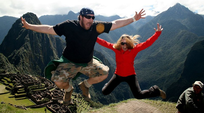 Miami Ad School copywriting grad Matthew Weiner • Group Creative Director @ Walton Issacson and his wife (fellow Miami Ad School graduate) Morgan Weiner • Creative Director @ Jack Morton Worldwide, soar over the wonders of Machu Picchu.