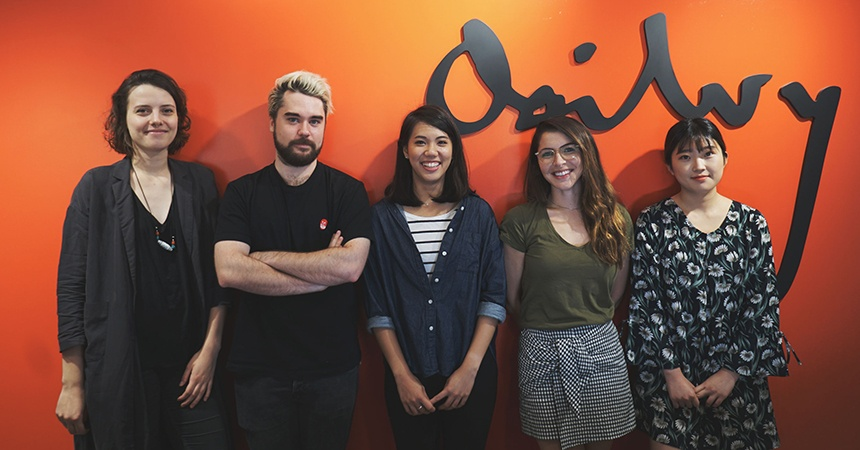 Summer 2017 Miami Ad School Tokyo interns (L to R): Katarzyna Grabek (art direction); Christophe Lefevre-Henzel (art direction); Rachel Wu (art direction); Daphne Lefran (copywriting); Seo Chae Yeong (art direction).