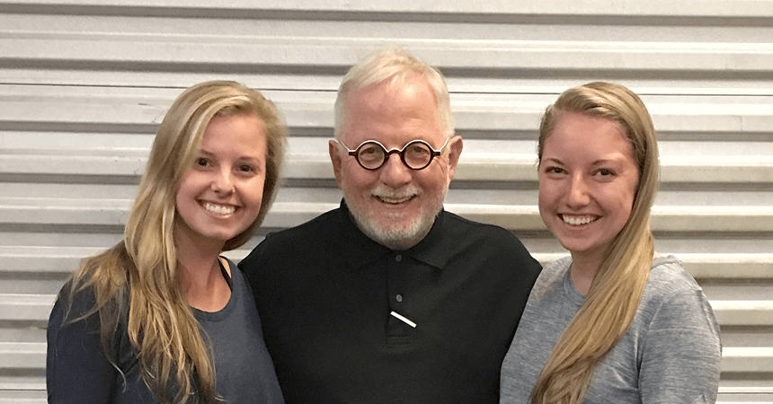 Miami Ad School Atlanta @ Portfolio Center Director of Creative Opportunities and Design Coach Hank Richardson with Elizabeth Carter Tindall (L) and Anna Reithman (R), recent winners of the Neenah Paper Tom Wright Scholarship.