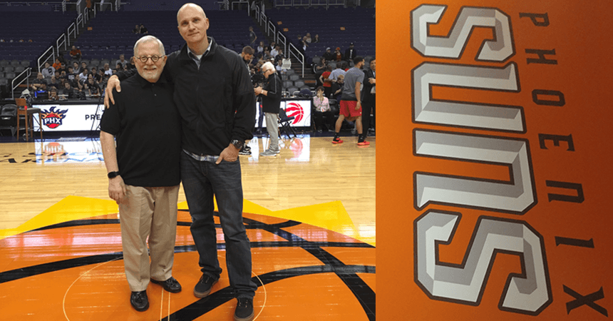 Miami Ad School @ Portfolio Center Director of Opportunities Design Coach Hank Richardson (L) and Tru Filyaw, Creative Director Brand Manager for the Phoenix Suns at center court of Talking Stick Resort Arena.