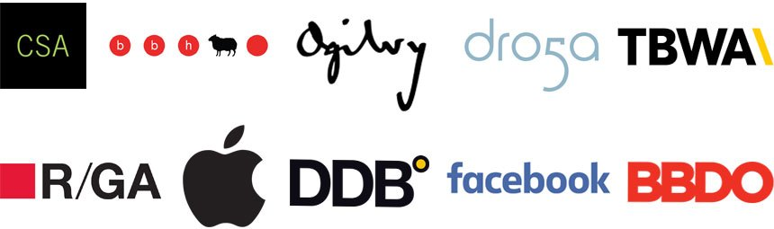 CSA, BBH, Ogilvy Mather, Droga5, TBWA, R/GA, Apple, DDB, Facebook, BBDO