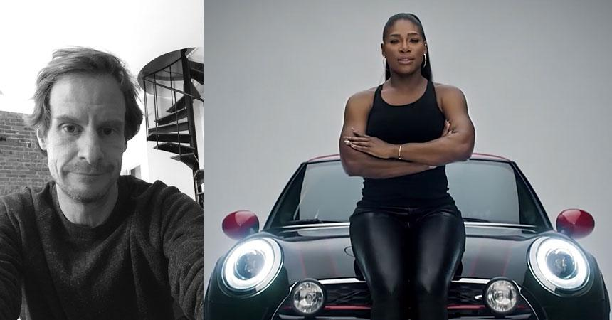Butler, Shine, Sterns Partners CSO Ed Cotton (L) and tennis superstar Serena Williams in BSSP's Defy Labels campaign for Mini.