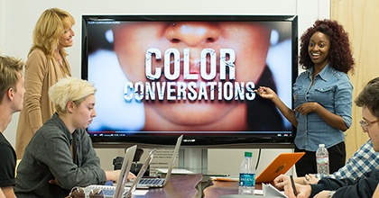 Shenice Brotherson (R) presents Color Conversations to instructor—and Miami Ad School Co-Founder and Head of Innovation and Development—Pippa Seichrist (L) in class at Miami Ad School Atlanta @ Portfolio Center.